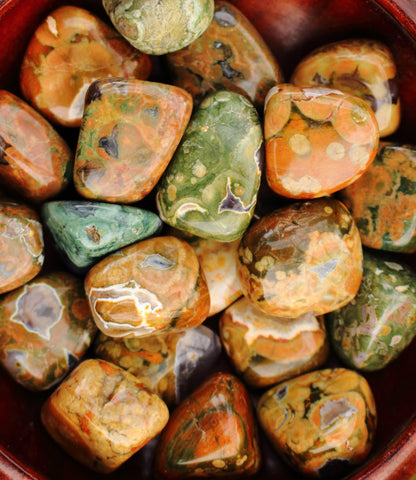 "Tumbled Rhyolite - 1""+, Rainforest Jasper"