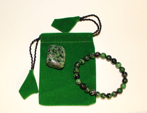 Ruby Zoisite Bracelet Set
