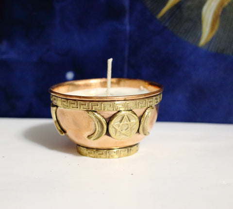 Copper Offering Bowl Purification Candle, Triple Moon, Pentacle, Triquetra or Dragon Copper Bowl