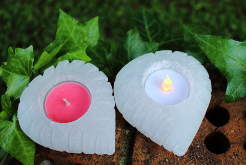 Selenite Carved Heart Candle Holder, Selenite Candle Holder