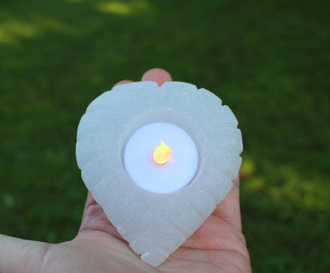 Selenite Carved Heart Candle Holder