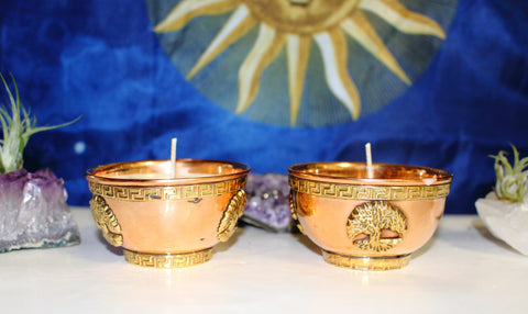 Tree of Life Copper Offering Bowl Purification Candle, Triple Moon, Pentacle, Triquetra, Dragon