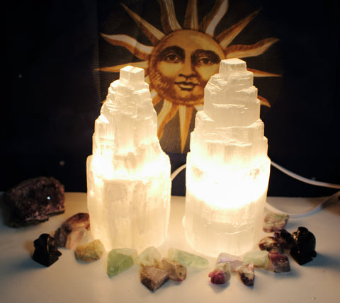 "8""  Selenite Tower Lamp, Selenite Lamp, Selenite Light"