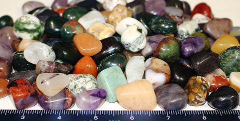 Bulk Natural Tumbled Stone Mix - 1 lb - Amethyst, Tourmalated Quartz, Jasper
