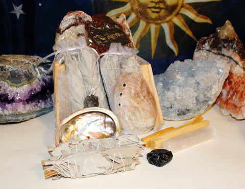 Home Smudge Set, White Sage, Palo Santo, Selenite, Black Tourmaline, Abalone Shell