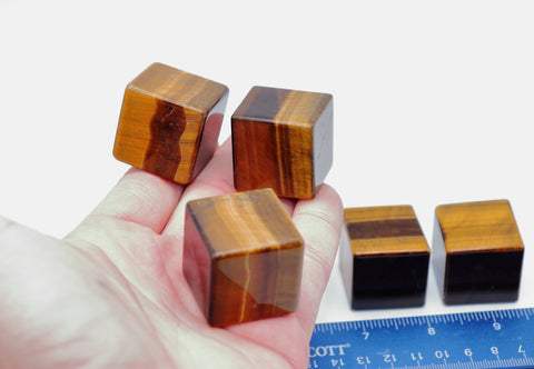 "Tiger Eye 1.2""/30 mm Cube, Tiger's Eye Cubes"
