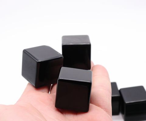 "Black Obsidian Cube, 30 mm/1.2"" Black Obsidian Cube"