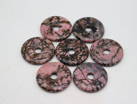 Rhodonite Pi Stone, Rhodonite Pi Stone with adjustable cord