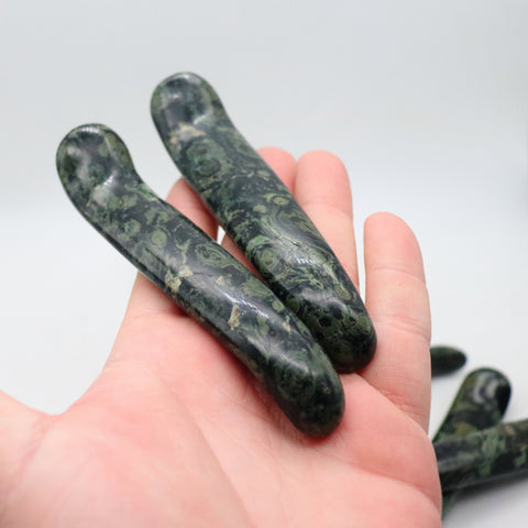 Kambaba Jasper Wands, Crocodile Jasper S Shaped Massage Wand 4.9-5""