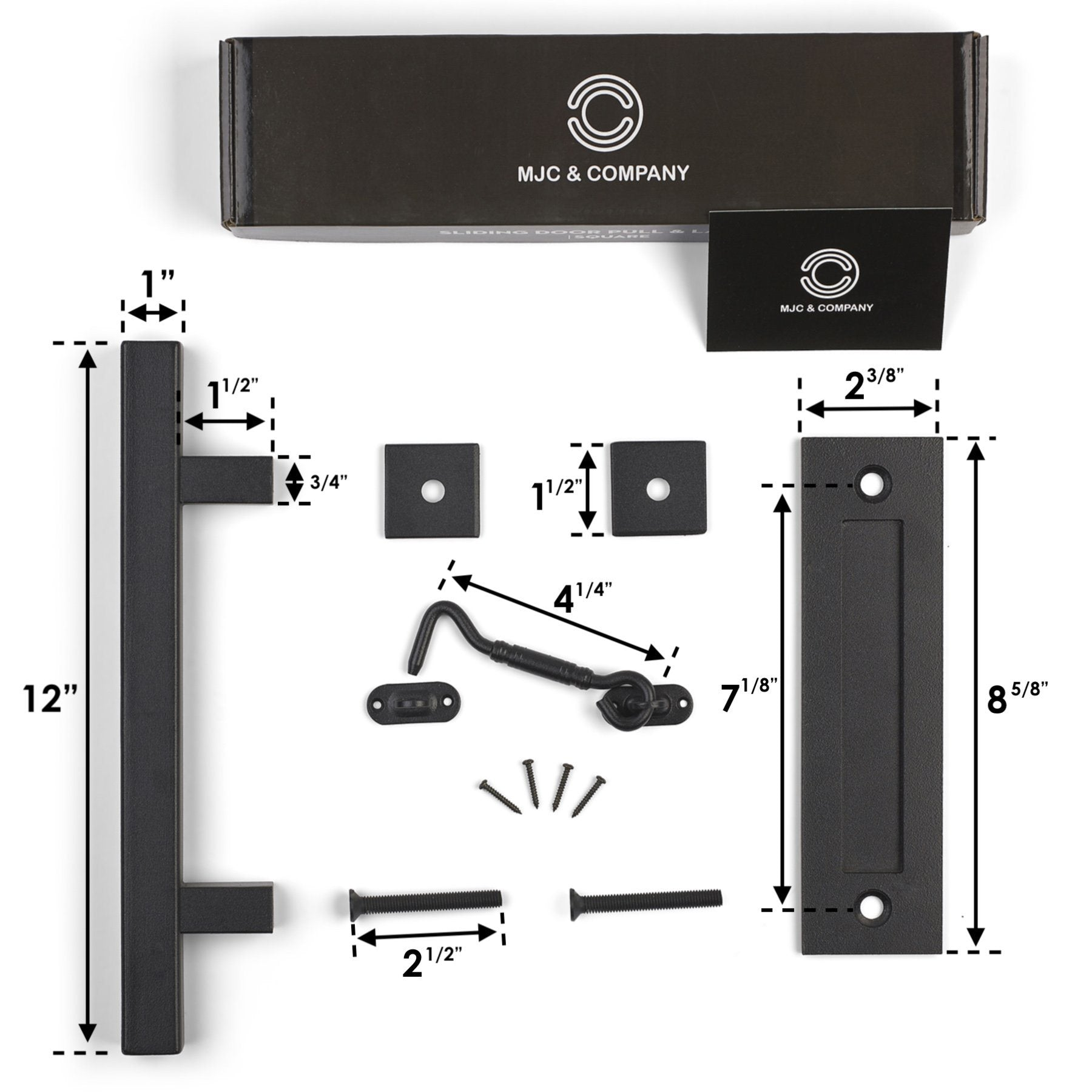 black sliding barn door handle pull set | MJC & COMPANY