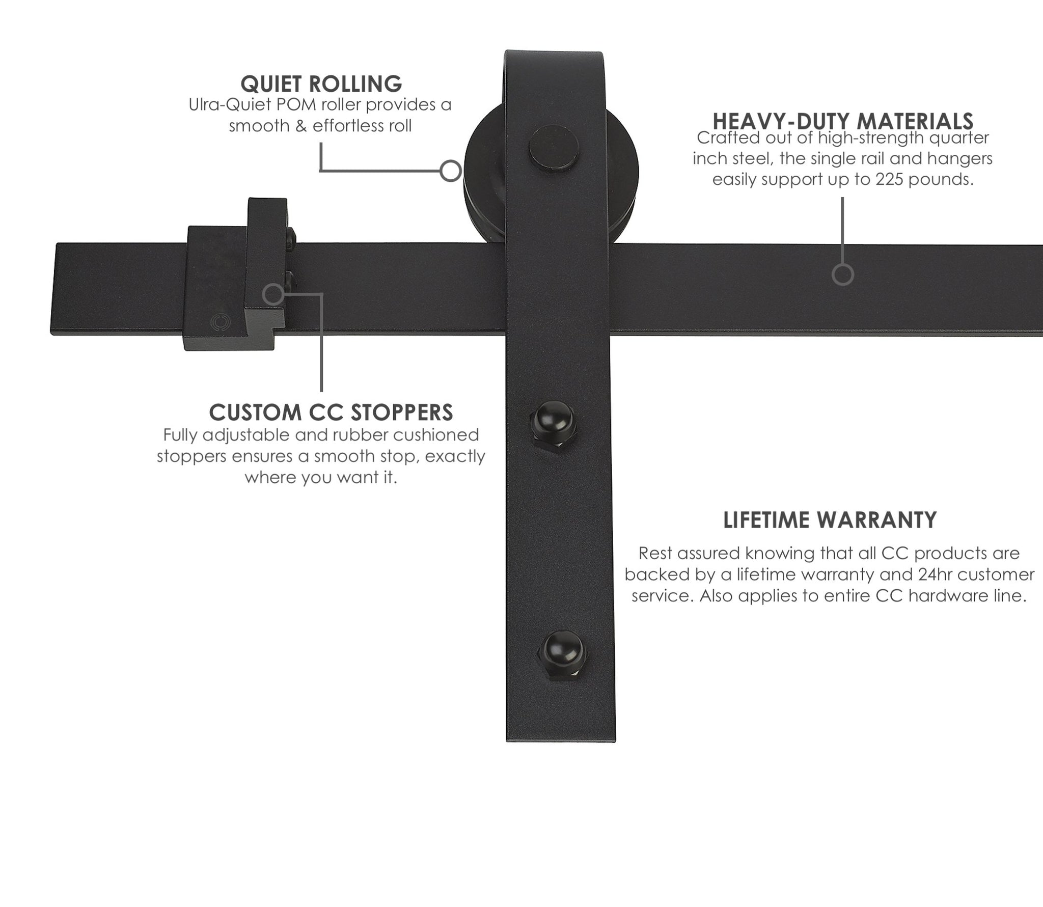 heavy duty classic sliding barn door hardware kit - mjc & company