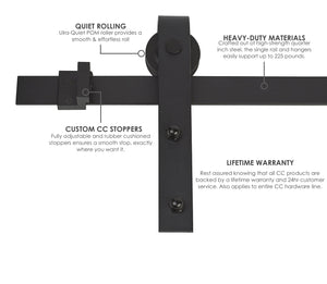 Classic | Single Barn Door Hardware | Matte Black - MJC & Company