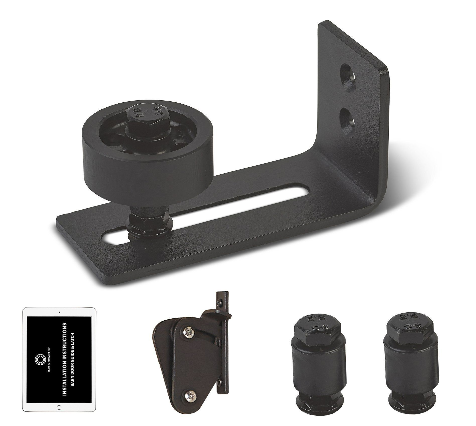 Barn Door Floor Guide & Latch | Matte Black - MJC & Company
