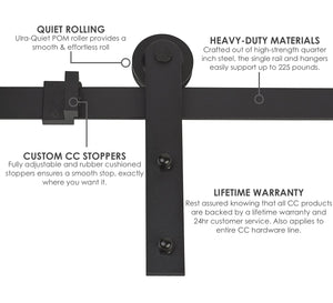 Modern | Single Barn Door Hardware | Matte Black - MJC & Company