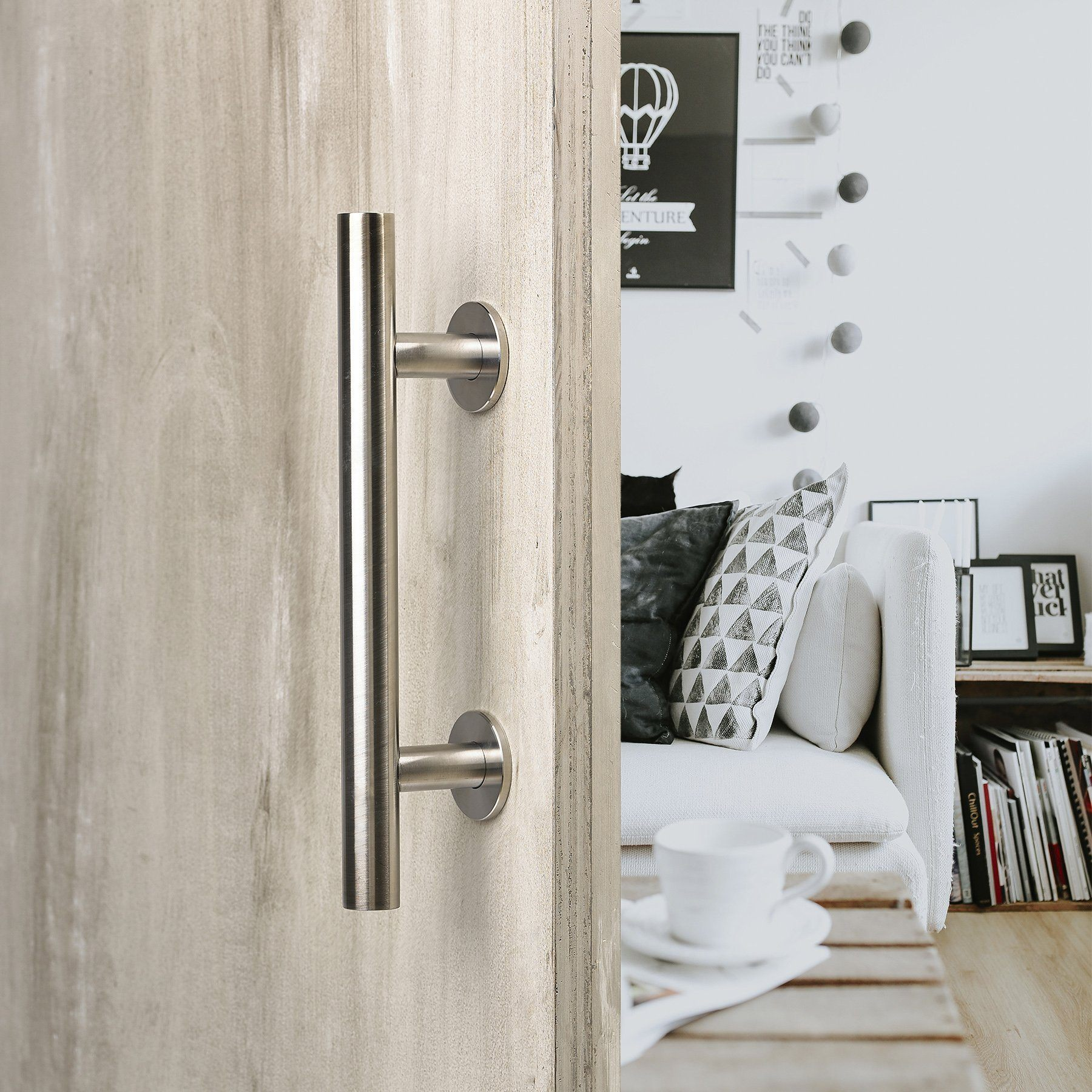"12"" round barn door pull with flush plate \u0026 latch stainless steel"