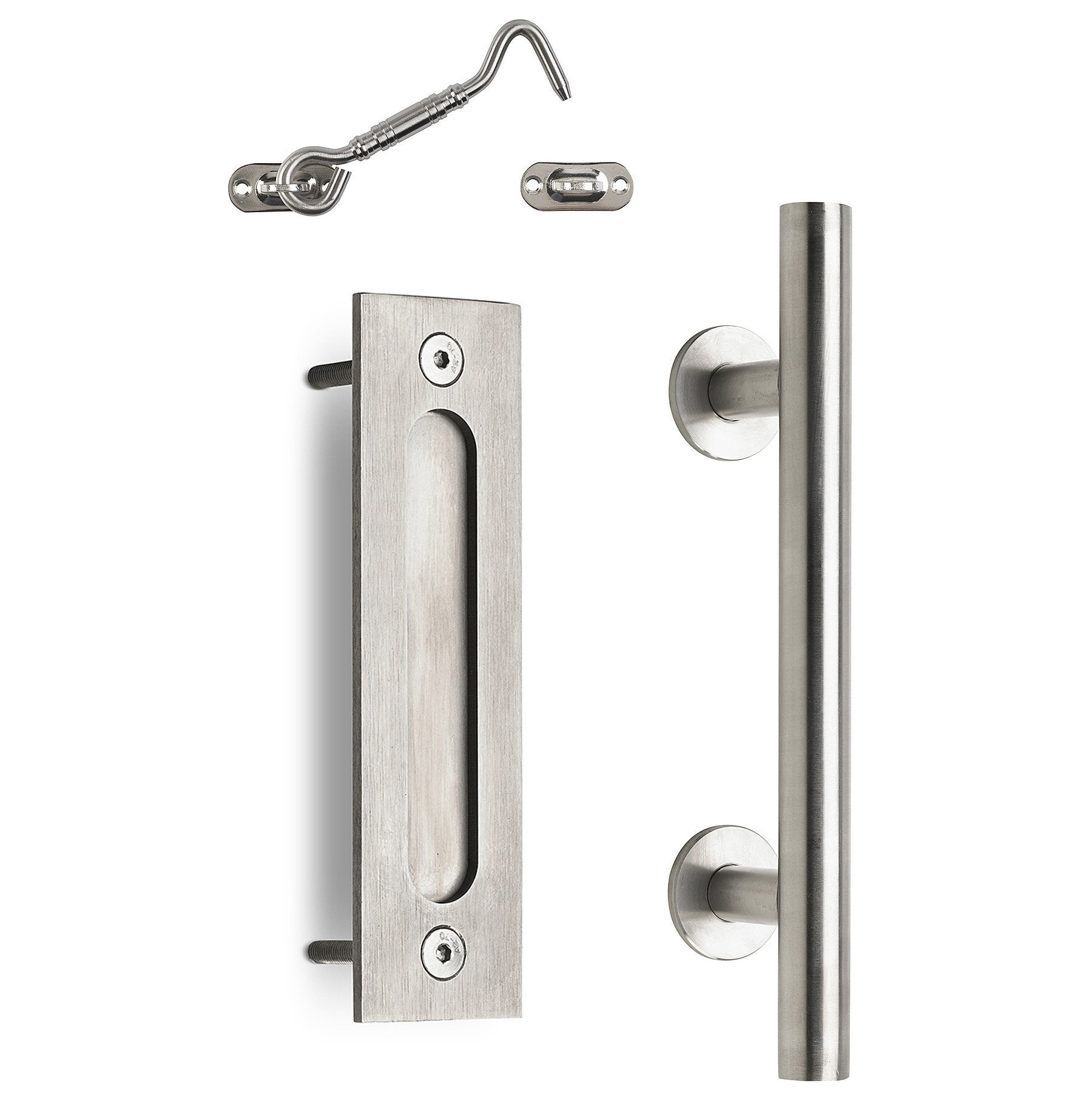 "12"" Round Barn Door Pull with Flush Plate &  Latch 
