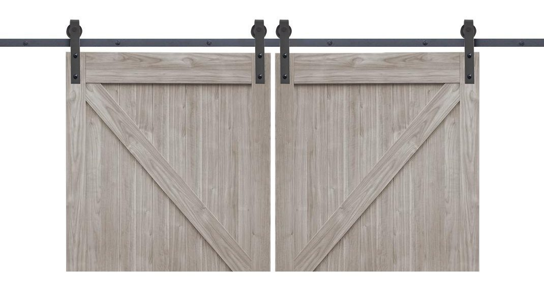 Heavy Duty Double Door | Classic Sliding Barn Door Hardware Kit | Matte  Black