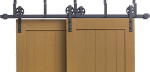 Vintage | Bypass Barn Door Hardware | Matte Black - MJC & Company