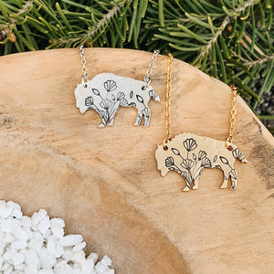 Wildflower Bison Necklace
