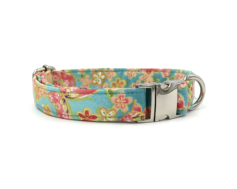Red Pink Vintage Floral Light Blue Dog Collar