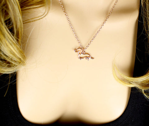 Rose Gold Dachsund Pendant Necklace