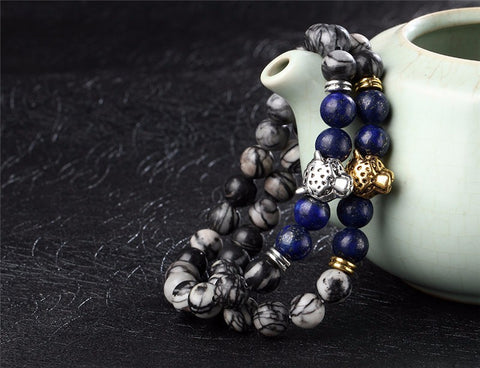 Leopard Headed  Stone Bracelet