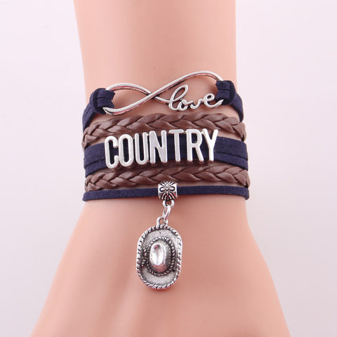 "Infinity ""Country"" Bracelet with Musical Note Charm"