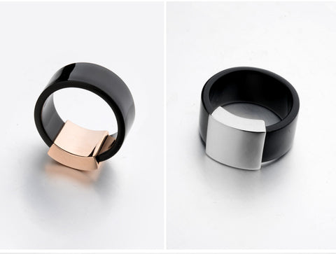 Black Band and Rose Gold Topper - Beautiful On the Finger!