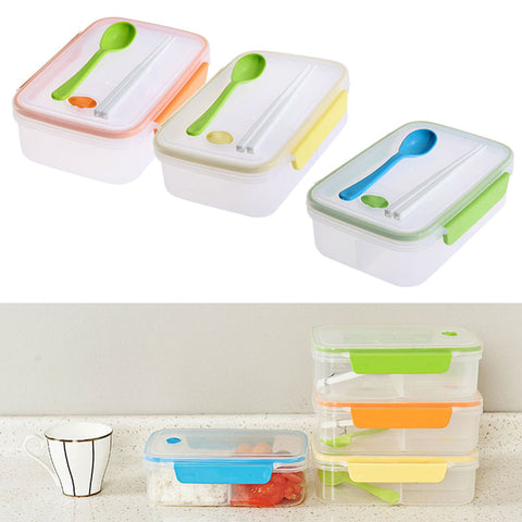 Three Compartment Transparent Lunch Box or Food Snack Container