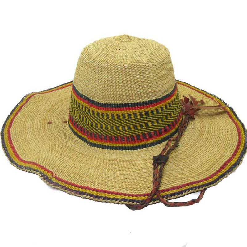 Fair Trade African Woven Grass Hat - Multicolored with Strap
