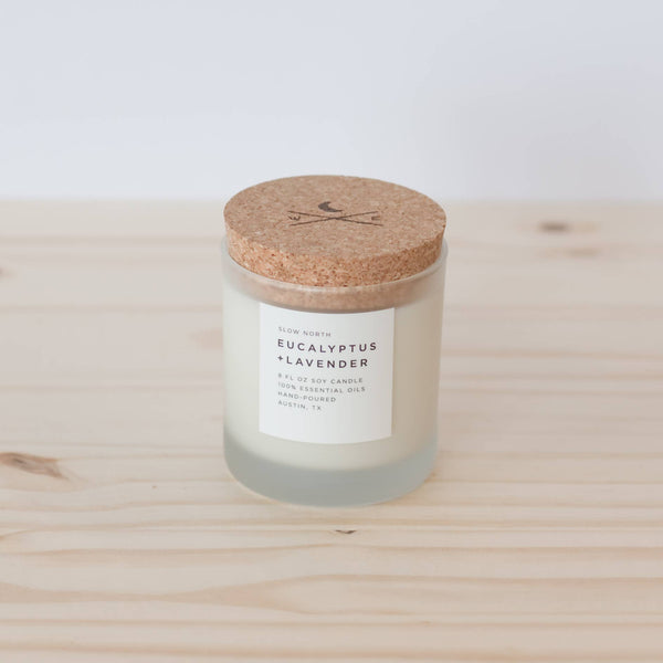 Eucalyptus and Lavander Frosted Candle