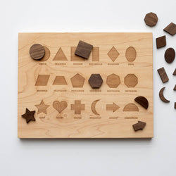 Wooden Shapes Board With Matching Pieces
