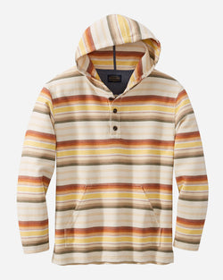 Pendleton Serape Stripe Hoodie Popover in Tan/Copper