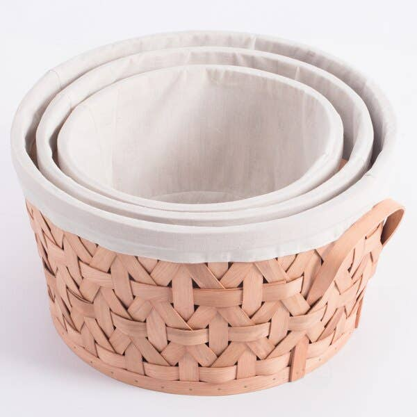 Basket Bins Lined with White Fabric