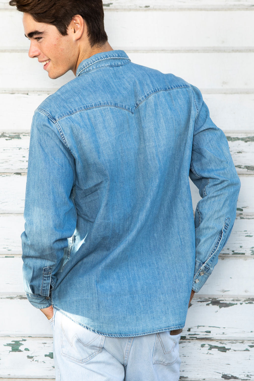Men's Western Light Washed Denim Shirt