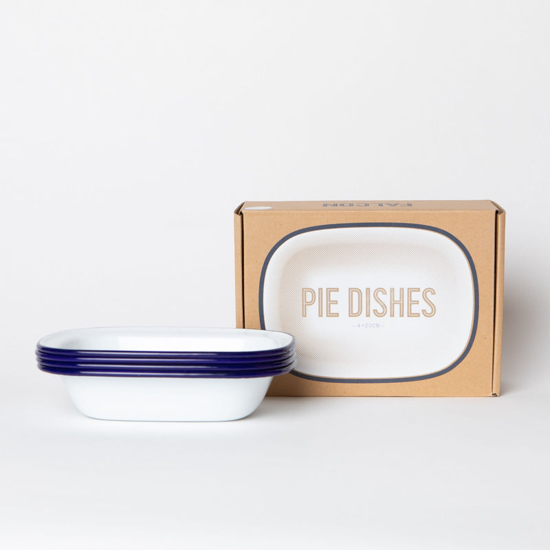 Falcon Enamelware Pie Dish (4) • White with Blue Trim