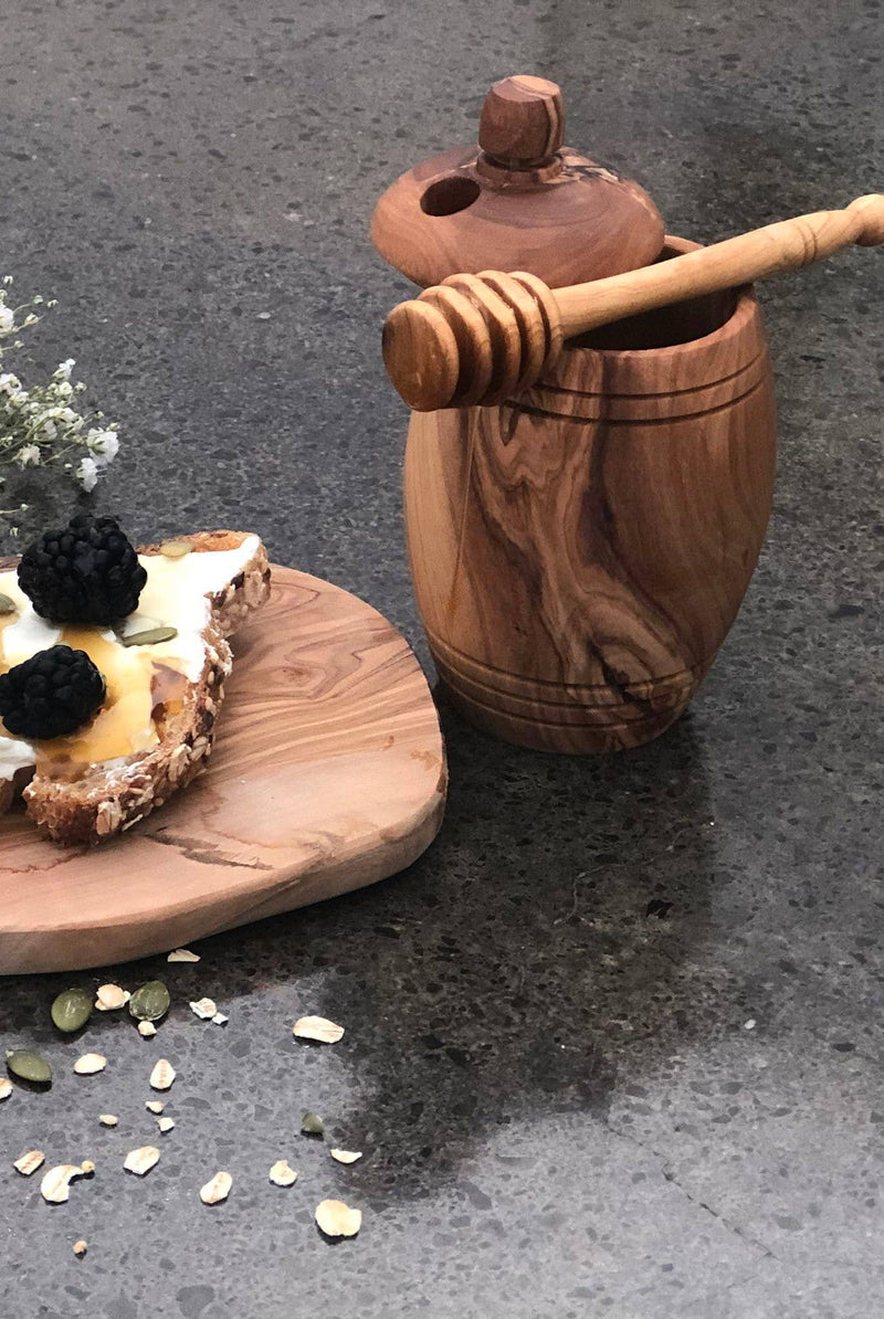 Olive Wood Honey Jar and Its Spoon