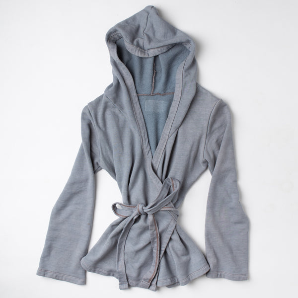 Bohemian Folk Hooded Fleece Wrap Top