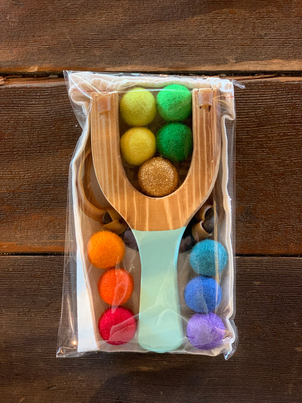 Rainbow Wooden Slingshot in Mint Color