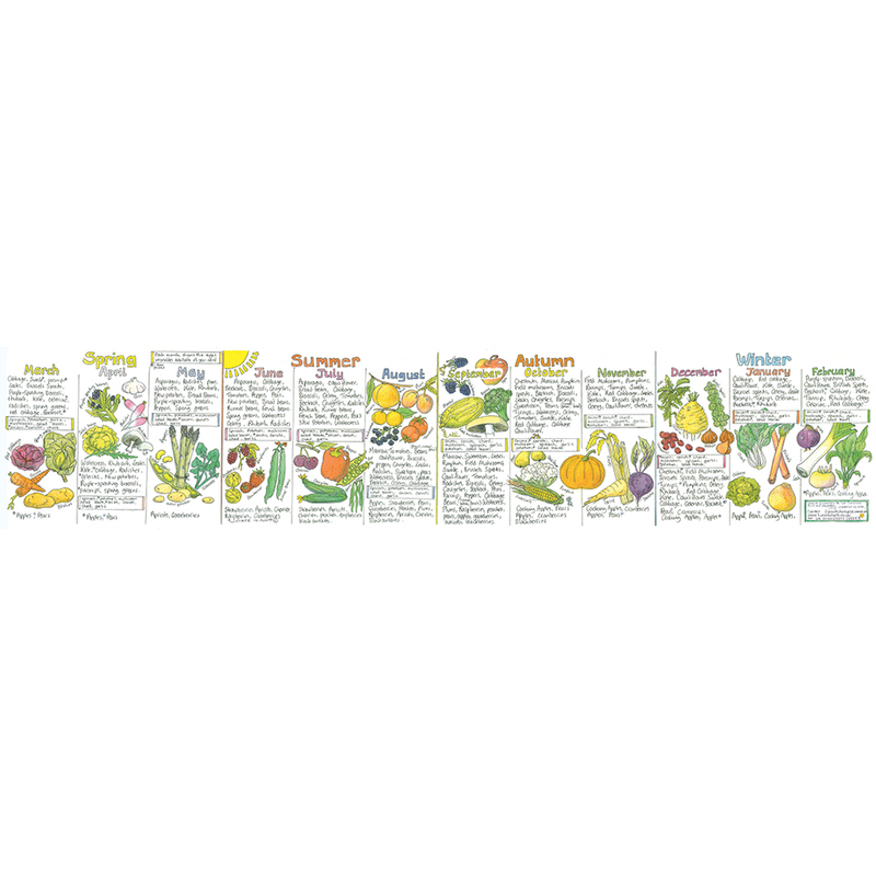 Seasonal UK Fruit and Vegetable Wall Chart