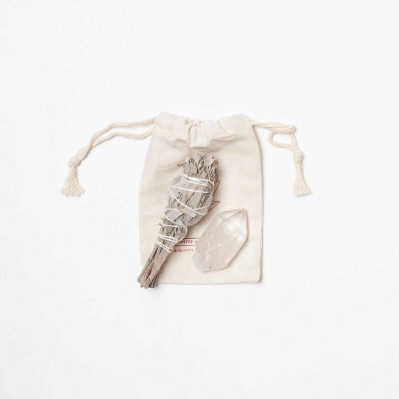 White Sage Smudge Stick and Crystal pouch