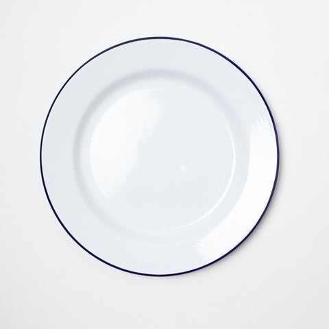 Enamel Plate Set of 4 • White w/ Blue Trim