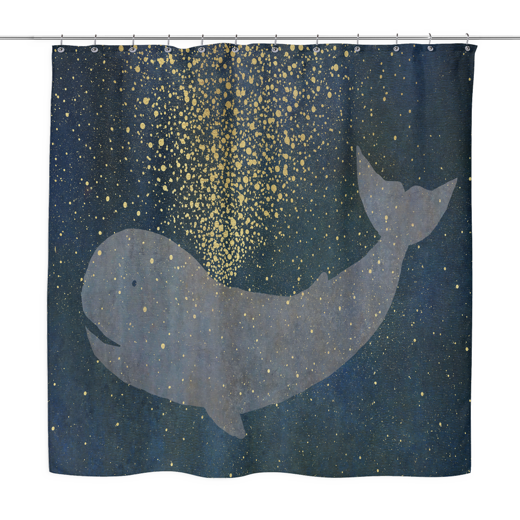 Whale Shower Curtain LuckyBazzar