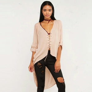 Brooklyn Asymmetrical Lace Up Blouse