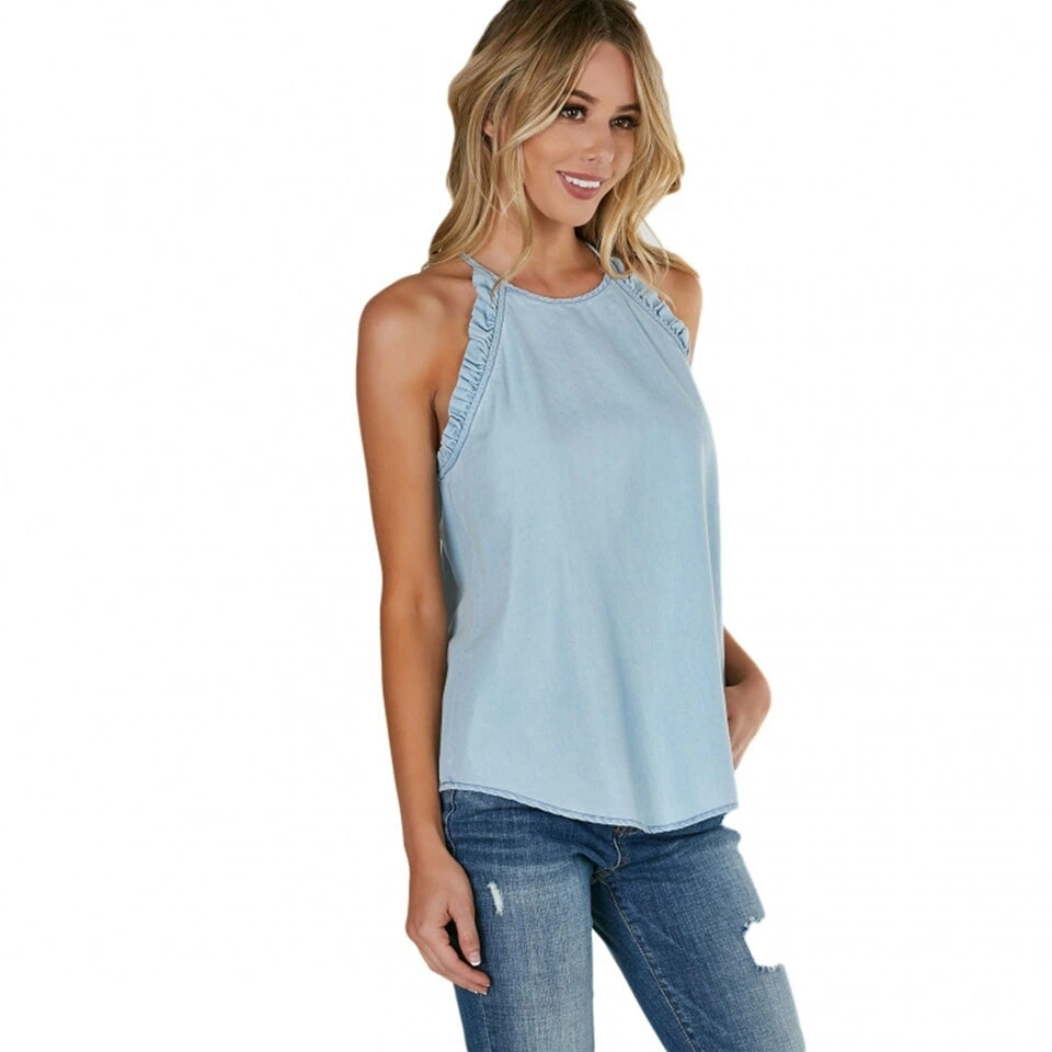 Alexis Light Blue Pleated Shoulder Top