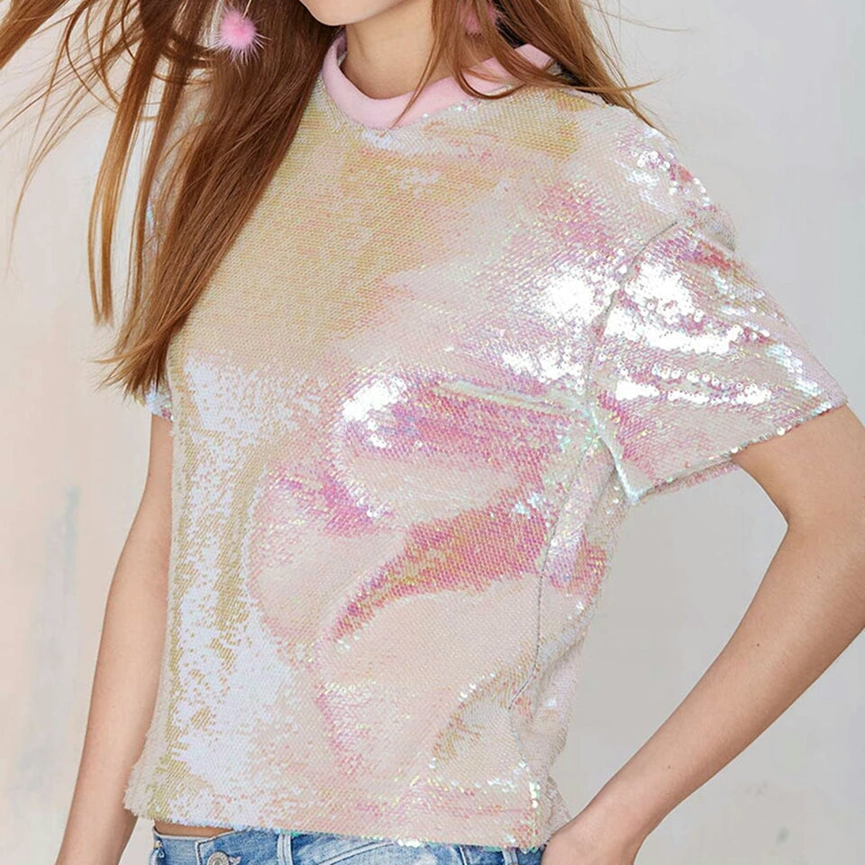 Pink Loose Sequin T-Shirt