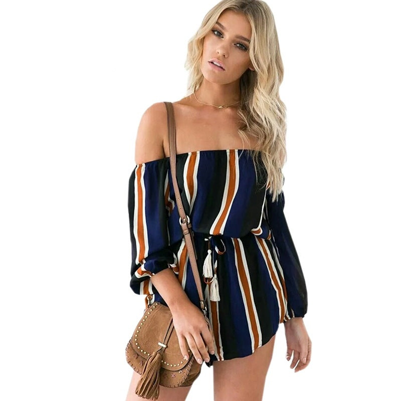 Tessa Striped Off Shoulder Rompers