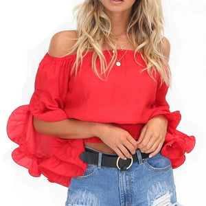 Evelyn Off Shoulder Ruffle Blouse