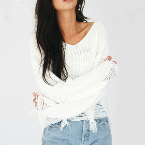 Wendy Distressed Cropped Sweater