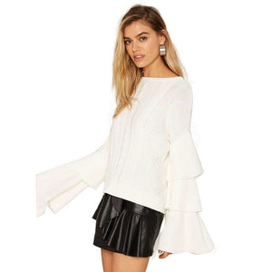 White Crew Neck Sweater with Ruffled Sleaves
